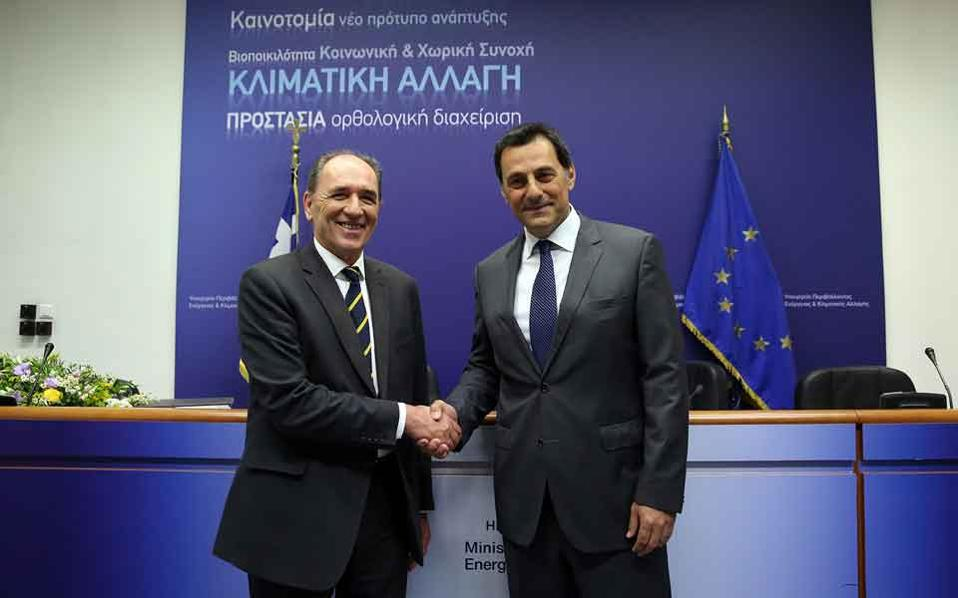 Minister Giorgos Stathakis (left) with Energean's Mathios Rigas.