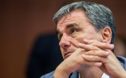 Greek Finance Minister Euclid Tsakalotos at the Eurogroup meeting in Brussels on Monday night