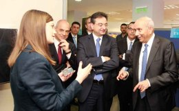 Prem Watsa (right) at Eurobank on Monday.