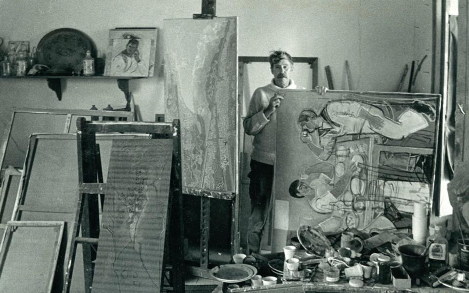 John Craxton in his studio in Crete in 1983.