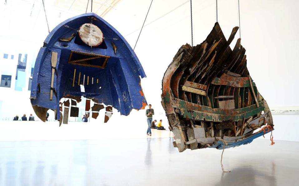 Remnants of boats used by refugees and recovered at Greek coasts are displayed as part of a project by Mexican artist Guillermo Galindo ahead of the opening of Germany's biggest art fair 'documenta 14' in Kassel, Germany.