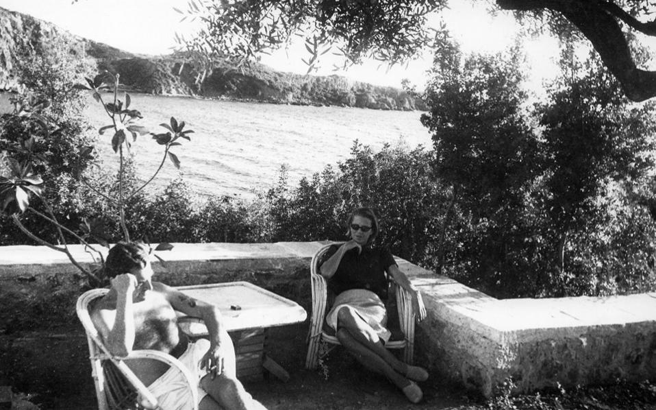 Patrick Leigh Fermor and his wife Joan on the veranda of their home in Kardamyli, in 1967.