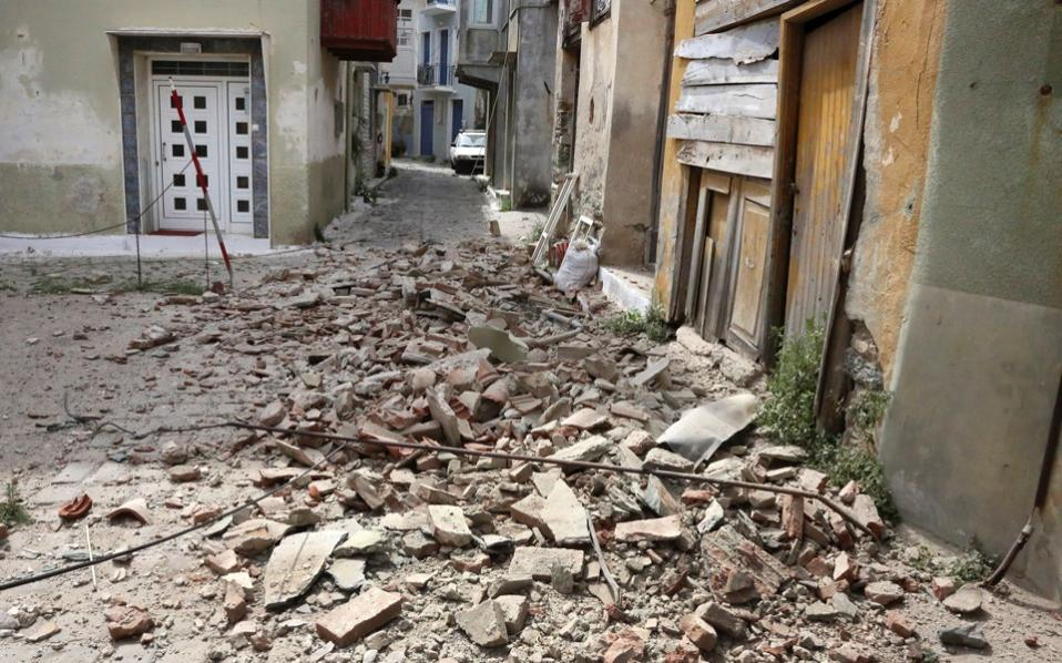 Damage in Plomari village after a strong earthquake struck Lesvos island on Monday.