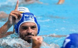 Christodoulos Kolomvos of Greece reacts during the men's water polo Montenegro vs Greece quarterfinal match. [AP]