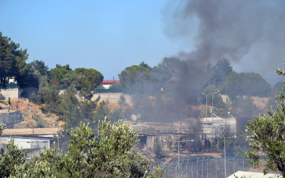 Greece: Protest and fire break out at Lesbos migrant camp