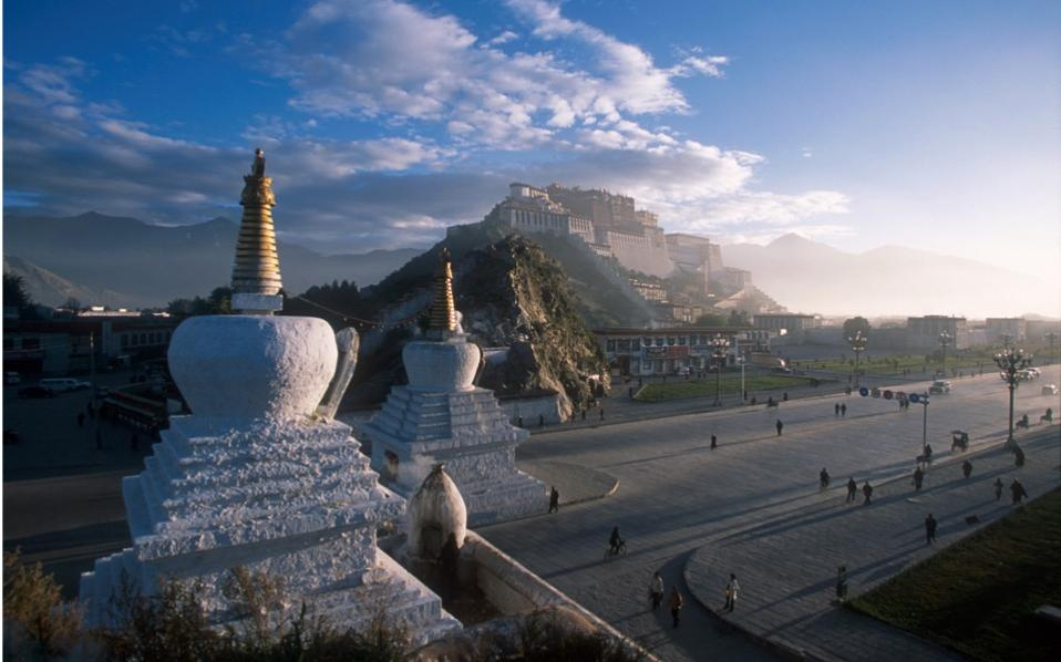 The Potala Palace in Lhasa, Tibet was the Dalai Lama's main residence before he fled to India during the 1959 Tibetan uprising.