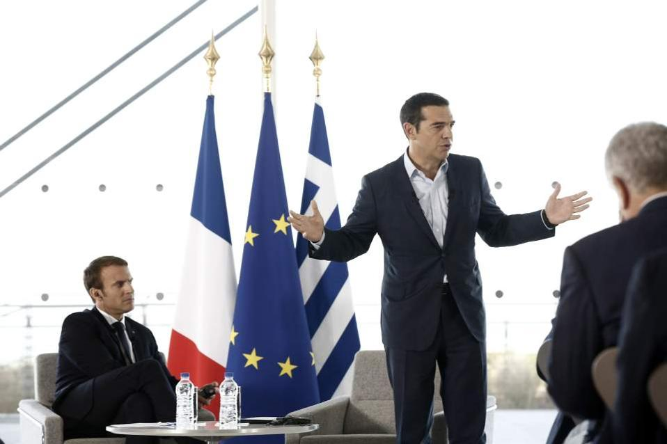 Macron, in Greece, pushes for deeper eurozone integration