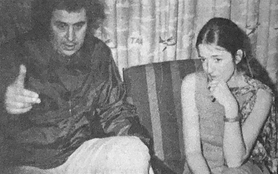 Greek composer Mikis Theodorakis and the author at a press conference at Sydney airport in 1972.