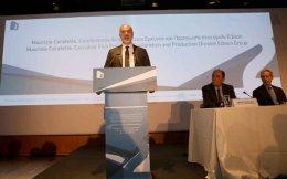 Edison's Maurizio Coratella speaks as Energy Minister Giorgos Stathakis listens.