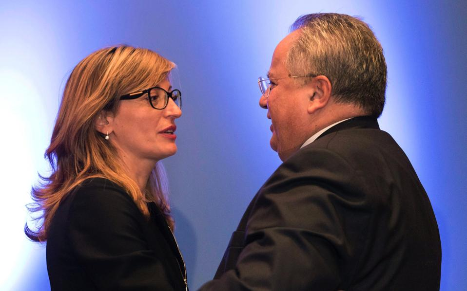 Foreign Minister of Bulgaria Ekaterina Zaharieva (l) speaks with Greek Minister of Foreign Affairs Nikos Kotzias (r) during a group photo opportunity at the 2nd Ministerial Meeting of Greece, Albania, Bulgaria and the Former Yugoslav Republic of Macedonia (FYROM), in Thessaloniki, on Thursday.