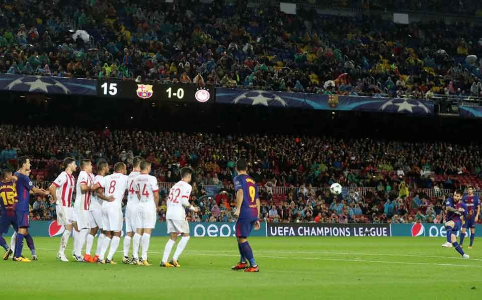 Messi scores Barcelona's second goal on the night.