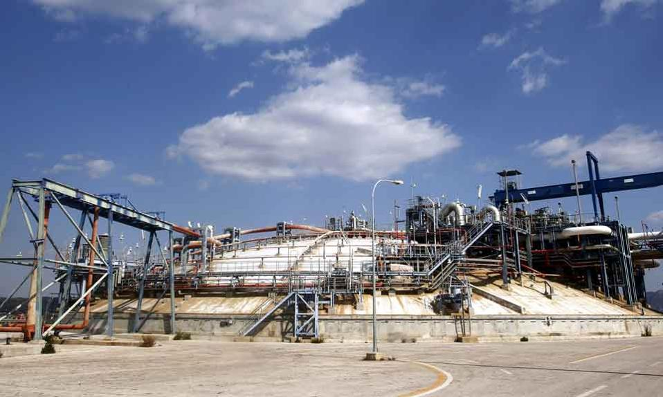 The gas reserve installations on Revythousa island.