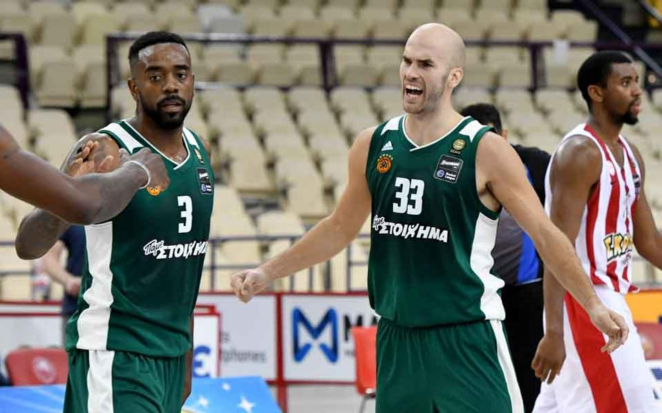 KC Rivers (left) and Nick Calathes celebrate victory over Olympiakos in Piraeus.