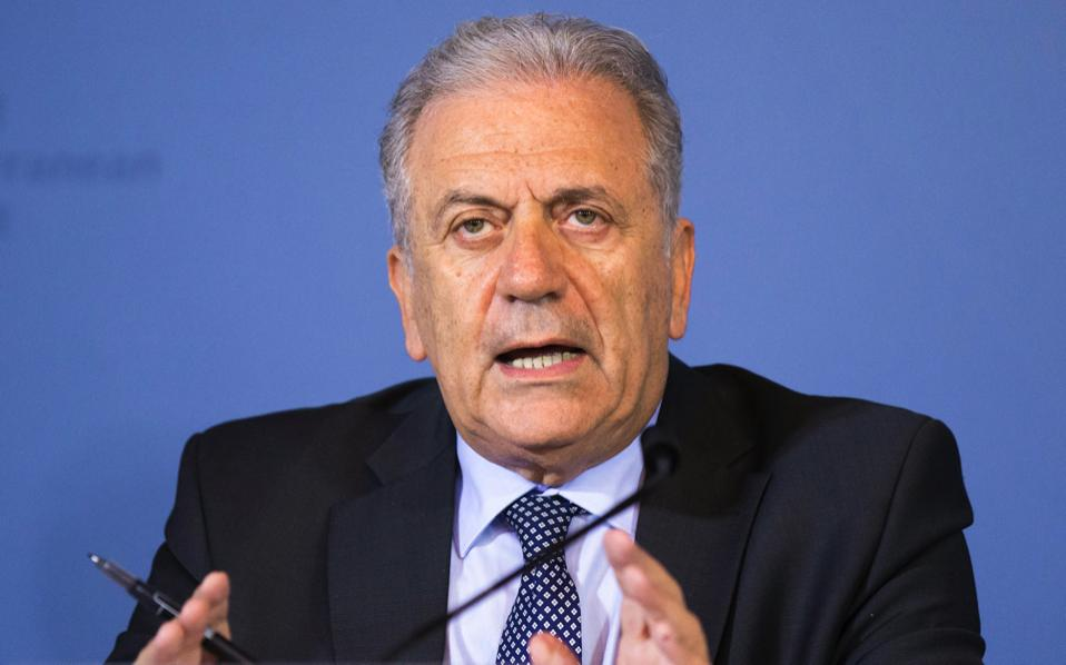 Dimitris Avramopoulos, European Commissioner for Migration, Home Affairs and Citizenship, speaks during a press conference at the third meeting of the Central Mediterranean Contact Group in Bern, Switzerland, on Monday.