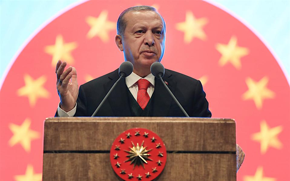 Recep Tayyip Erdogan speaks during a tourism conference in Ankara, Wednesday.