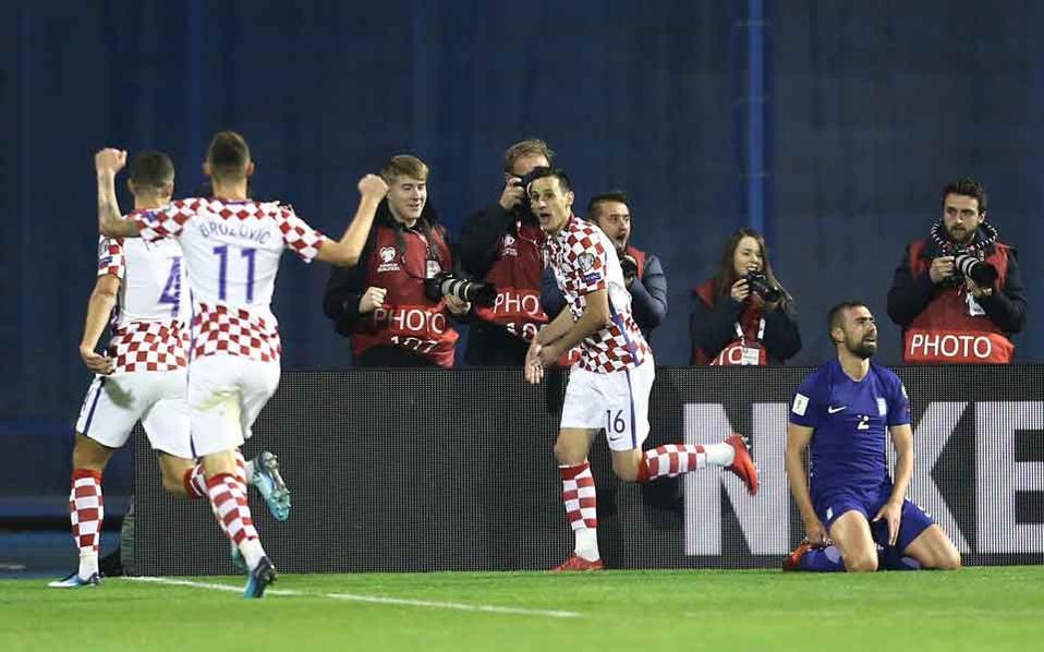 Kalinic celebrates Croatia's second goal.