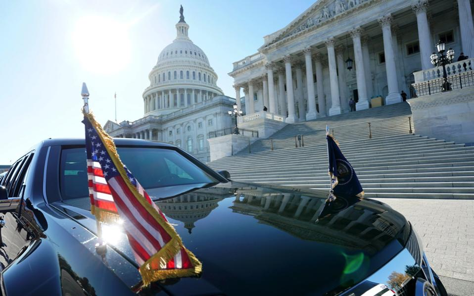 US President Donald J. Trump's limousine is seen outside the US Capitol Building as Trump meets inside with the Senate Republican caucus, in Washington, DC, USA, on Tuesday.