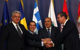 Serbian President Aleksandar Vucic, right, poses with Romanian Prime Minister Mihai Tudose, left, Greece's Prime Minister Alexis Tsipras, second from left, and Bulgarian Prime Minister Boyko Borisov after talks, in Belgrade, on Saturday.