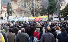 PPC workers gathered in Florina's main square to protest the planned sale of an electricity plant in the area.