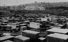 Thessaloniki's Jewish cemetery as it was before it was destroyed in 1942, during the German occupation of Greece. The cemetery was established in ancient times and on the eve of the Second World War counted approximately 500,000 graves in an area of 350,000 square meters, making it probably the largest Jewish cemetery in Europe and maybe the world.