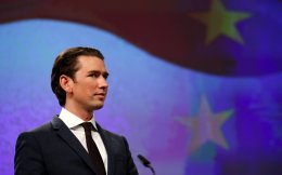 Austria's Chancellor Sebastian Kurz holds a news conference after meeting European Commission President Jean-Claude Juncker (not pictured) in Brussels on Tuesday.