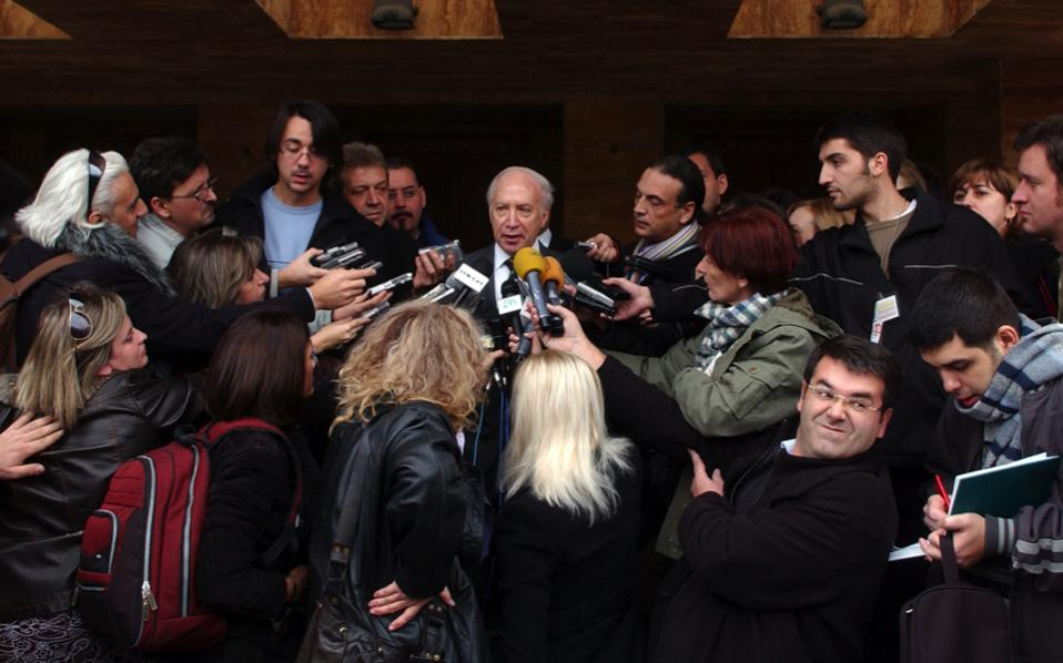 Matthew Nimetz (center), UN special representative for the name dispute between Greece and FYROM, talks to journalists following a meeting in Skopje, in this file photo.