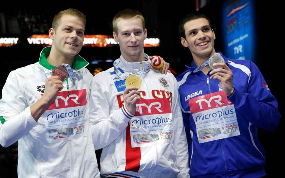 Vazaios (right) collected another silver medal in Copenhagen on Sunday.