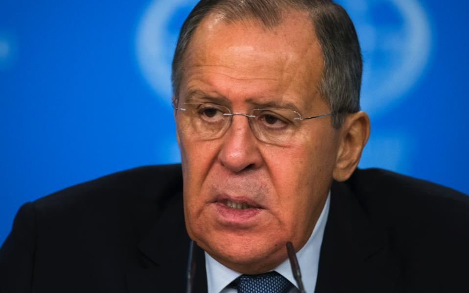 Russian Foreign Minister Sergey Lavrov speaks during his annual roundup news conference summing up his ministry's work in 2017, in Moscow on Monday.