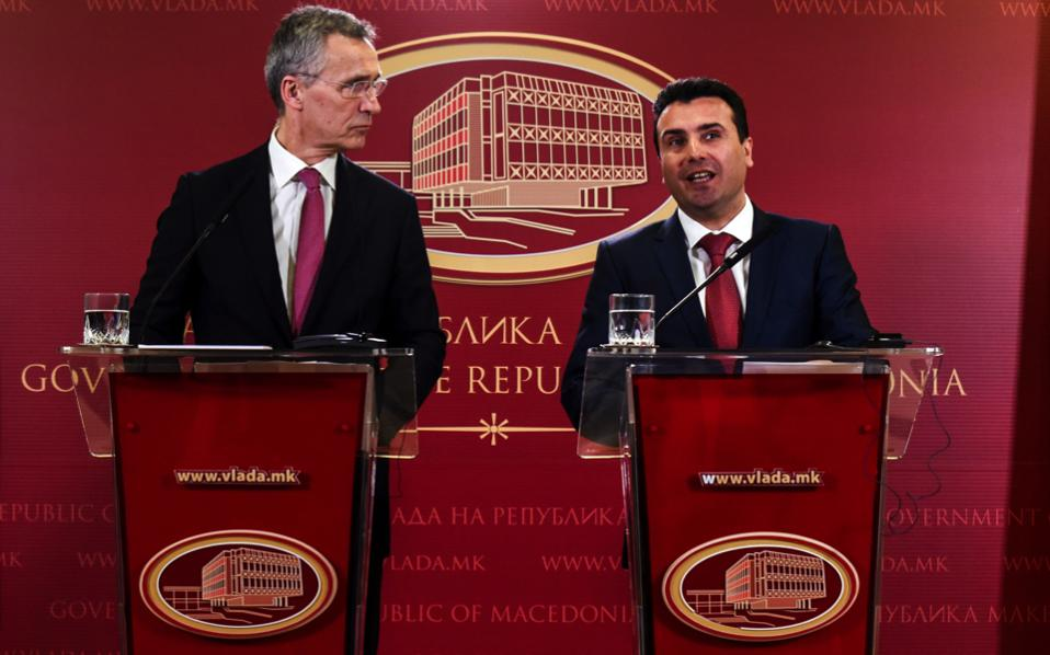 NATO Secretary General Jens Stoltenberg (l) and FYROM Prime Minister Zoran Zaev (r) seen during a joint press conference in Skopje on Thursday.