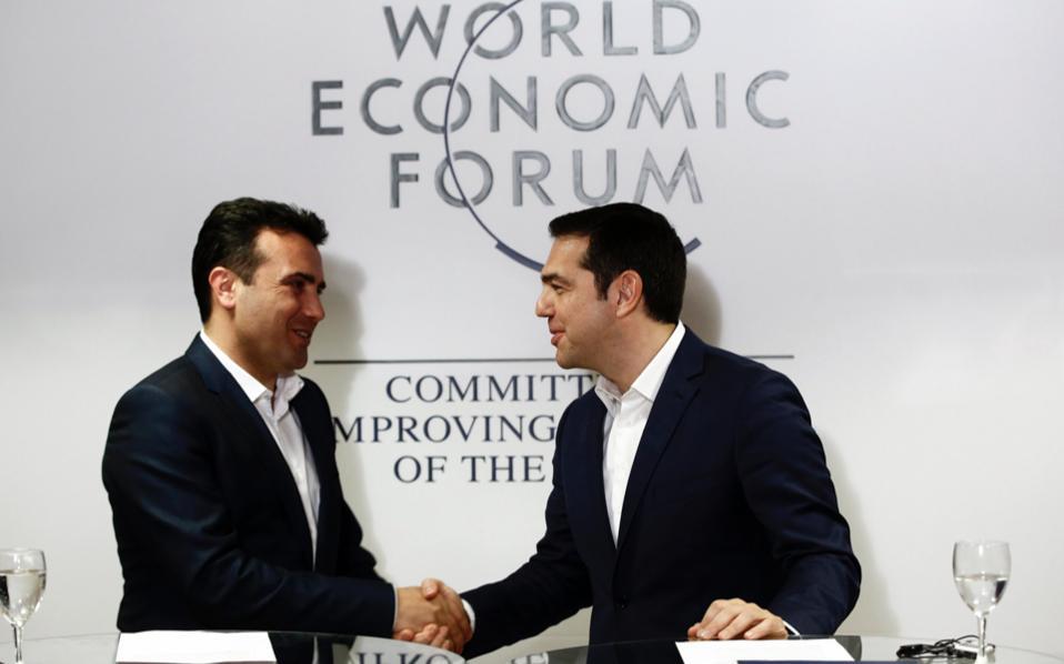 Greek, Macedonian prime ministers meet in Davos
