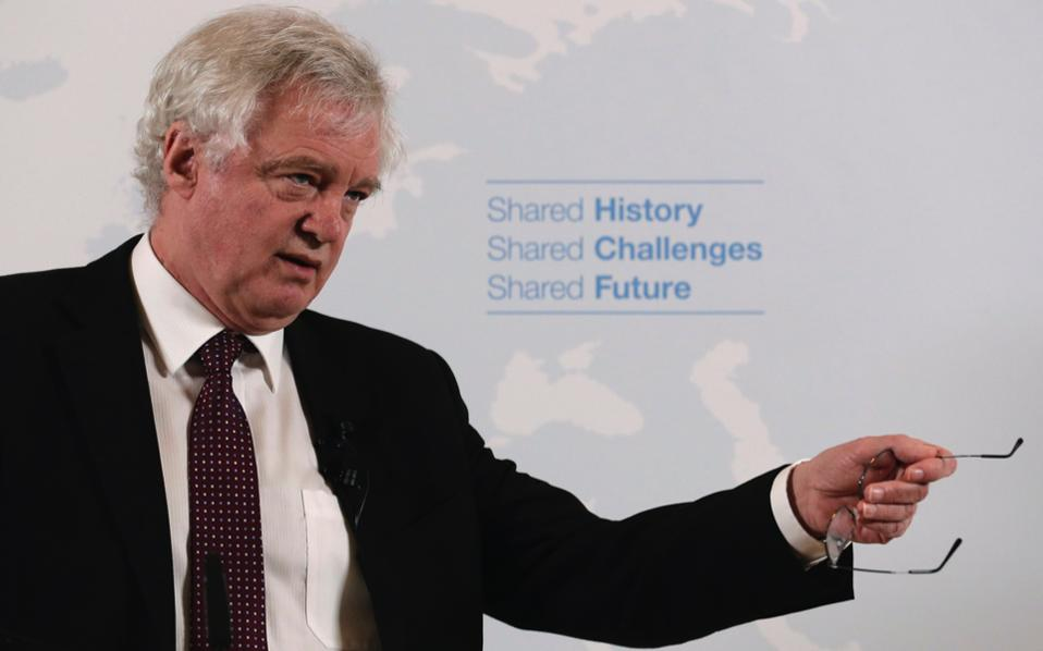 British Secretary of State for Exiting the EU David Davis speaks about Britain's passage out of the EU, in Vienna, on Tuesday.