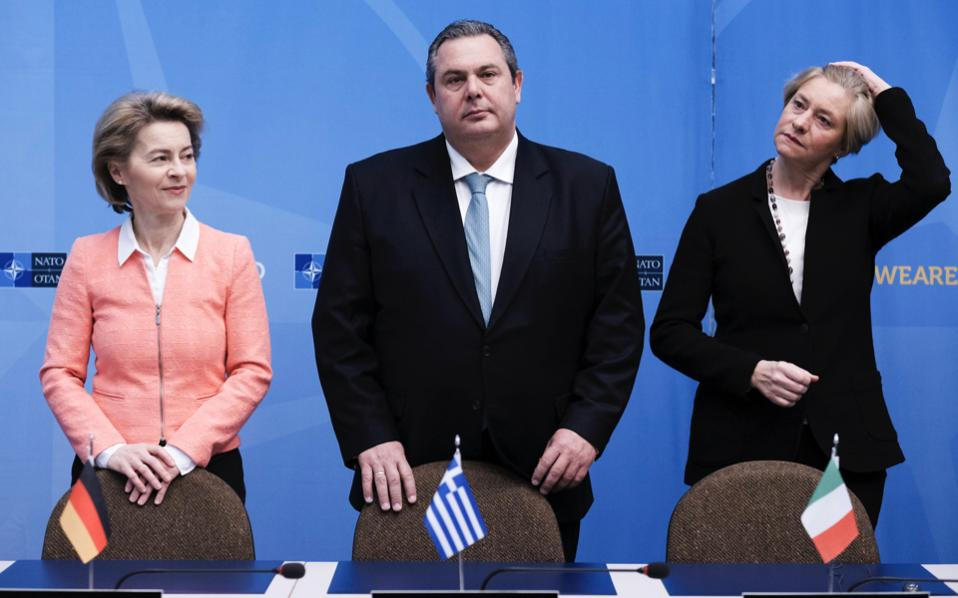 From L-R: German Defense Minister Ursula von der Leyen, Greek Defense Minister Panos Kammenos and Italian Defense Minister Roberta Pinotti during signature ceremony on the side meeting of NATO Defense Ministers at NATO headquarters in Brussels, on Thursday.