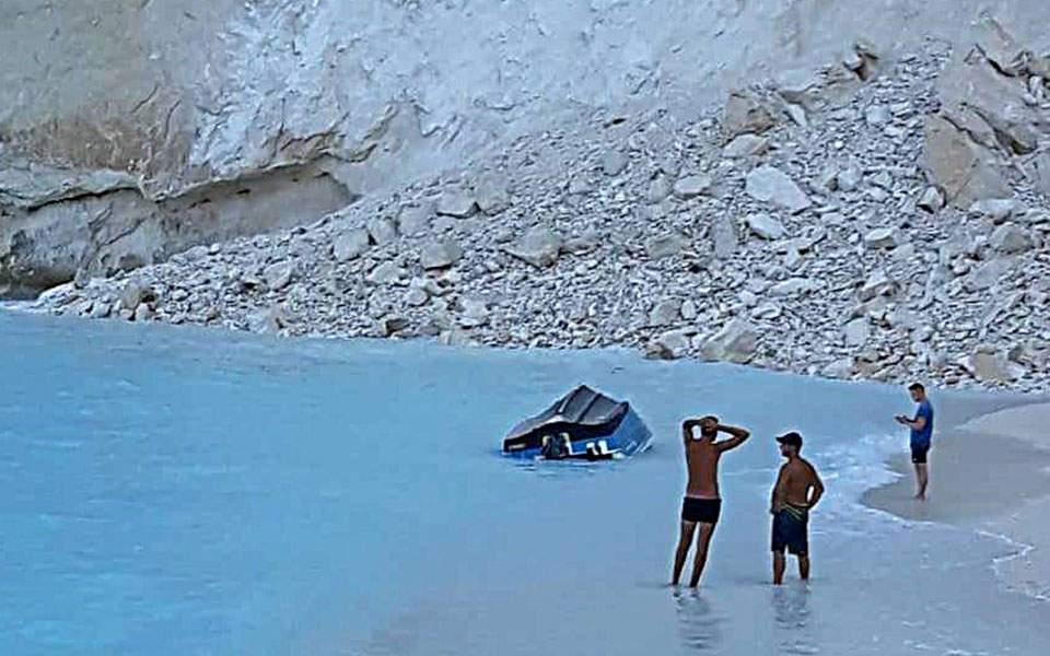 Rockfall at Shipwreck Beach in Zante terrifies tourists