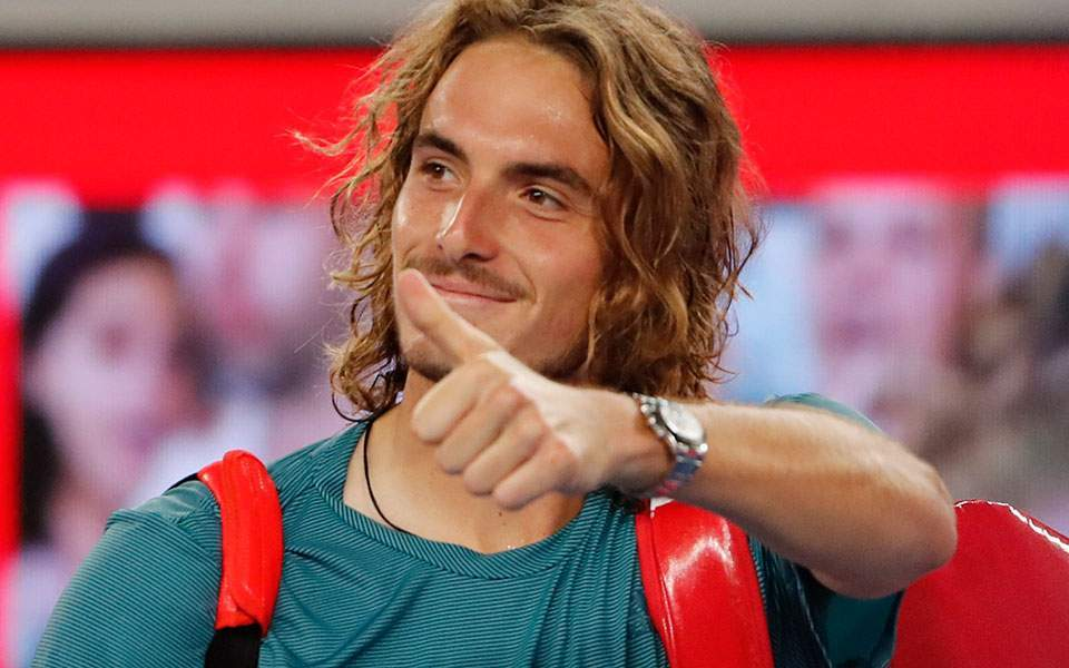 Stefanos Tsitsipas eyes up Roger Federer after rollicking victory
