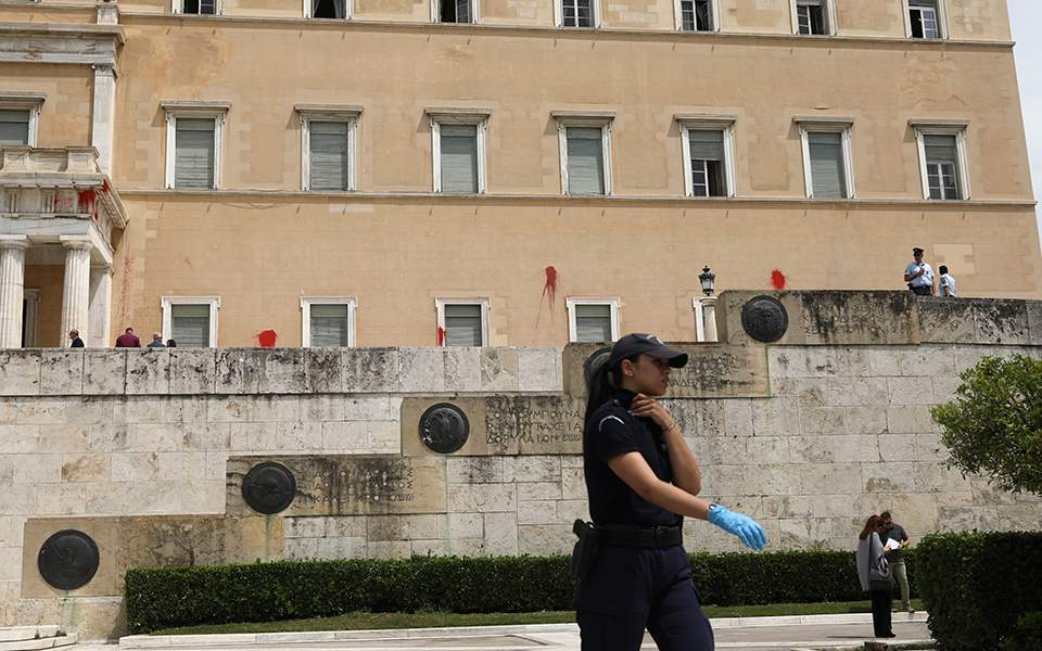 Rouvikonas claims paint attack on Parliament