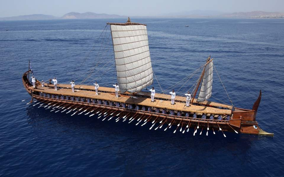 Naval officers show off trireme Olympias