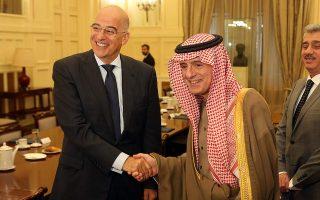 dendias-meets-saudi-minister-in-athens
