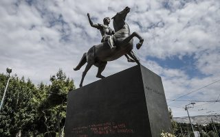 alexander-statue-in-central-athens-vandalized