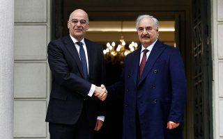 haftar-meeting-dendias-at-greek-foreign-ministry