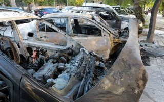 nine-detained-over-torched-cars-in-central-athens
