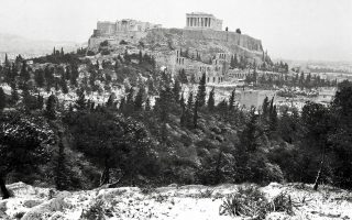 The Acropolis is seen cloaked in snow in 1962.