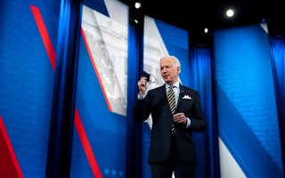 President Joe Biden speaks during a CNN town hall event at The Pabst Theater in Milwaukee on Tuesday. [Doug Mills/The New York Times]