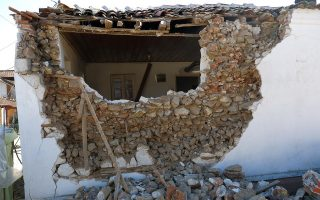 A badly damaged house is seen in Mesochori, outside Elassona, on Thursday, after Wednesday's first big earthquake. [Giorgos Kydonas/InTime News]