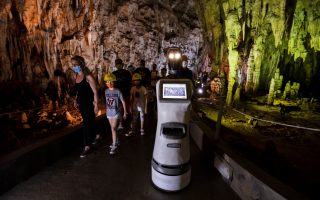 persephone-the-robot-guide-leads-visitors-in-a-greek-cave